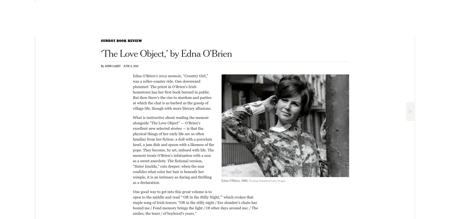 'The Love Object ' by Edna O'Brien   The New York Times